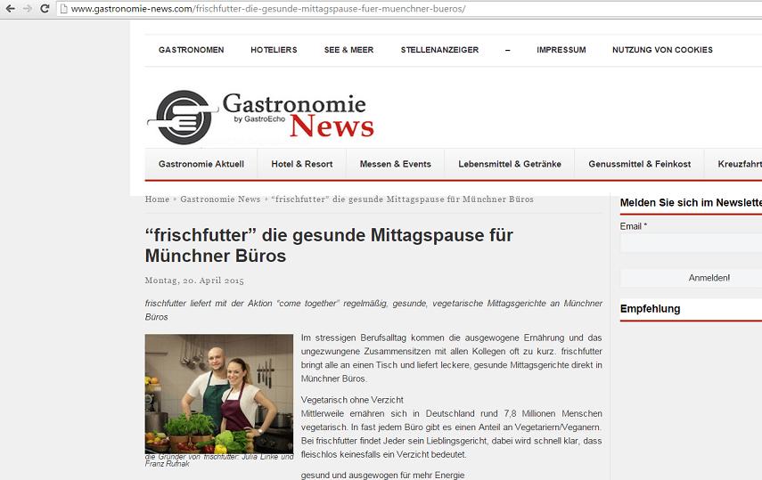 Pressemitteilung auf Gastronomie-News